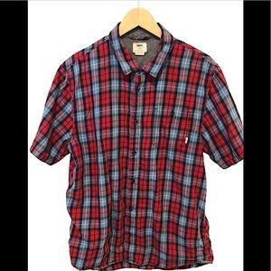 Vans short sleeve red blue plaid shirt